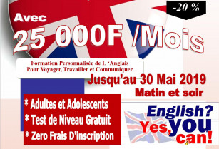 Cette spéciale promotion Cours d'anglais  est pour vous  jusqu'au 30 Mai 2019 payez seulement 25 000 F par mois