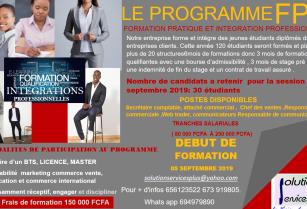 Formation pratique et intégration professionnelle (120 postes disponibles après une formation qualifiante. Niveau minimal BTS