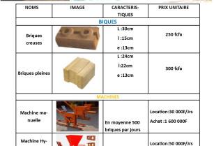 vente des briques de terre stabilisées et location des machines à briques