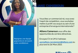 ALLIANZ CAMEROUN RECRUTE DES MNS POUR SES AGENCES DOUALA ET YAOUNDE